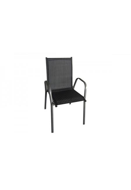Black: Silla aluminio apilable Textiline