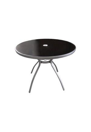 Black: mesa redonda alumnio con cristal 100x72cm